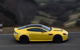 Обои авто, желтый, Aston Martin, в движении, yellow, V12 Vantage S