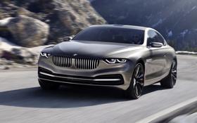 Обои бмв, BMW, автомобиль, в движении, Coupe, передок, Gran Lusso