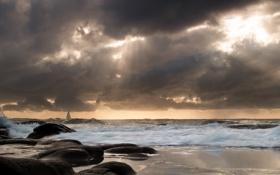 Картинка парусник, пляж, небо, облака, свет, волны, море