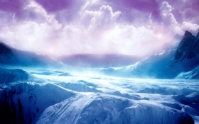 Обои лед, небо, облака, горы, Пейзаж, скалистые горы, ice-terrain