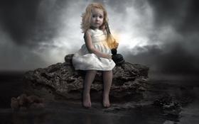 Обои dark, moon, Flame, sad, photomanipulation, child, Lamp