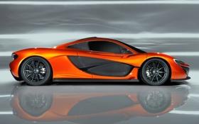 Обои Concept, оранжевый, фон, McLaren, концепт, суперкар, вид сбоку