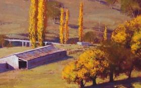Обои осень, деревья, пейзаж, мост, арт, постройки, ферма