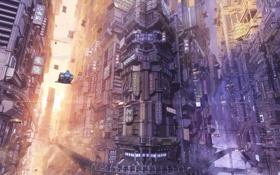 Картинка машины, город, будущее, дома, аниме, арт, arsenixc