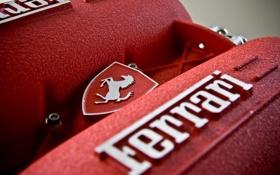 Картинка макро, красный, двигатель, логотип, тачки, эмблема, ferrari