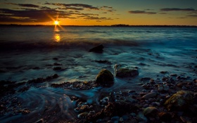 Картинка закат, пейзаж, небо, океан, волны, побережье, берег