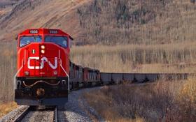Картинка поезд, локомотив, осень, горы, состав