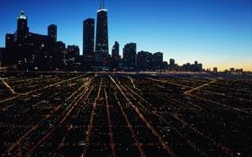 Картинка ночь, город, Чикаго, свет города