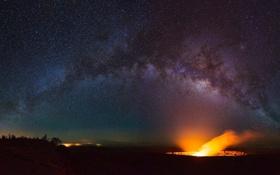 Картинка небо, звезды, вулкан, млечный путь, photographer, Kenji Yamamura, Hawaii Volcanoes National Park
