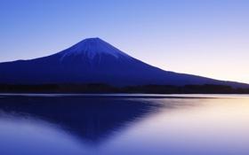 Картинка снег, озеро, утро, Япония, Фудзи, Фудзияма