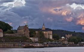 Картинка Akershus (Festning), облака, Замок, Норвегия, Осло, вечер, тучи