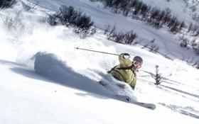 Обои зима, снег, горы, лыжи, тень, очки, лыжник