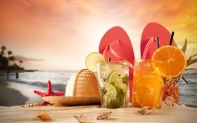 Обои песок, море, пляж, звезды, шляпа, коктейль, ракушки