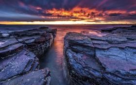 Картинка море, небо, закат, камни, побережье, горизонт