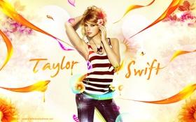 Картинка девушка, бабочки, цветы, графика, лепестки, певица, ярко