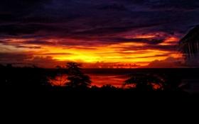 Обои небо, пейзаж, закат, остров, Индонезия