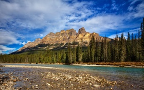 Картинка лес, река, Castle Mountain, небо, Канада, Замковая гора, Альберта
