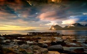 Картинка море, небо, облака, горы, камни