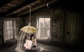 Картинка зонт, деаушка, игрушки, комната