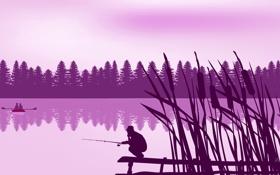 Картинка лес, пейзаж, озеро, лодка, вектор, силуэт, камыш