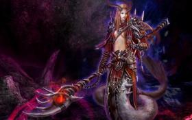 Картинка девушка, оружие, змея, арт, хвост, рога, посох