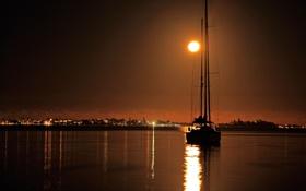Картинка небо, ночь, огни, озеро, лодка, яхта, Луна