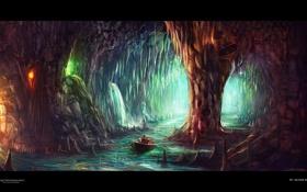 Картинка огни, река, лодка, пещера, desktopography, сталактиты