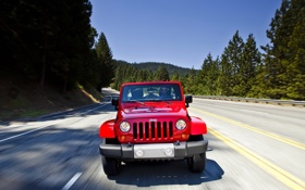Обои Красный, Авто, Дорога, Sahara, Wrangler, Jeep, Unlimited