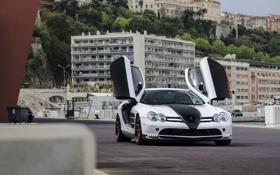 Обои Mercedes-Benz, white, набережная, Monaco, Монако, МакЛарен, СЛР