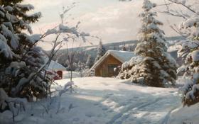 Обои зима, снег, деревья, пейзаж, елки, картина, сугробы
