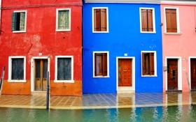 Картинка краски, цвет, дома, Италия, Венеция, канал, остров Бурано