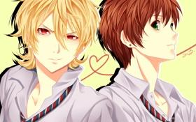 Картинка улыбка, парни, школьная форма, art, zetsuen no tempest, seishiki, takigawa yoshino