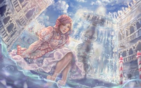 Обои взгляд, вода, девушка, платье, арт, ножки, живопись