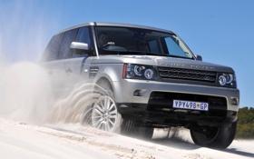 Обои песок, небо, серый, джип, внедорожник, Land Rover, Range Rover