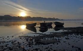 Картинка пейзаж, закат, озеро, лодки