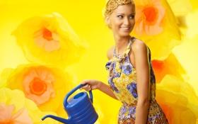 Картинка цветы, улыбка, Девушка, платье, поливальник