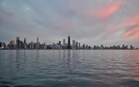 Картинка вода, здания, небоскребы, Чикаго, USA, Chicago, мегаполис
