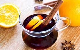 Картинка корица, пряности, апельсины, фрукты, бадьян, цитрусы, вино