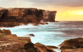 Обои море, океан, скалы, рассвет, побережье, австралия, sydney