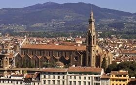 Картинка горы, дома, Италия, Флоренция, базилика Санта-Кроче