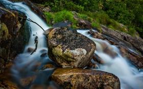 Картинка камни, река, трава, поток, ручей, скалы, вода