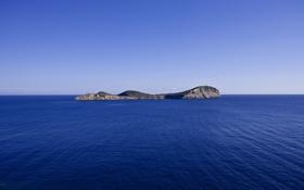 Картинка море, небо, остров, горизонт