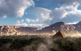 Картинка зелень, небо, облака, пейзаж, горы, луна, планета