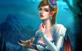 Обои девушка, замок, крылья, арт, фрукт, клыки, вампир