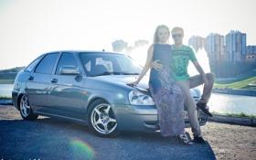 Обои машина, авто, лето, девушка, солнце, парень, auto