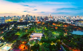 Обои закат, город, Bangkok, Lumpini park, небо, парк, тайланд