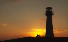 Картинка sunset, lighthouse, Ritual at Dusk