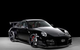 Обои черный, Porsche, суперкары, Techart, фото авто, на черном фоне, GT Street R