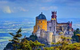 Обои город, Португалия, фото, дворец, Palacio da Pena Sintra, HDR