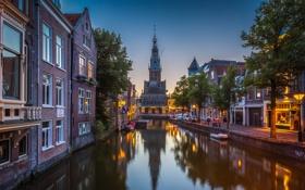 Картинка Алкмар, дома, небо, вечер, канал, Нидерланды